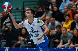 05-05-2019 NED: Achterhoek Orion - Abiant Lycurgus, Doetinchem<br /> Final Round 4 of 5 Eredivisie volleyball, Orion have a 2-1 lead in the best-of-five series but lost the fourth match 3-2 / Stijn Held #3 of Lycurgus