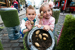 Repro Free: <br /> Jayden Whelan (age 6) from Swords and Malena Behan (age 6) from Palmerstown harvest some Urban Farm potatos in Temple Bar as Bord Bia in conjunction with the Irish Potato Federation and the Irish Farmer&rsquo;s Association, welcome the return of National Potato Day this Friday, 3rd October. Much-loved by Irish families for generations, National Potato Day celebrates a reliable favourite that not only tastes delicious and is incredibly versatile, but also provides a naturally healthy option for meal times.<br /> For exciting and inspiring potato recipes, a chance to enter some great competitions and a list of National Potato Day events visit www.potato.ie. Picture Andres Poveda