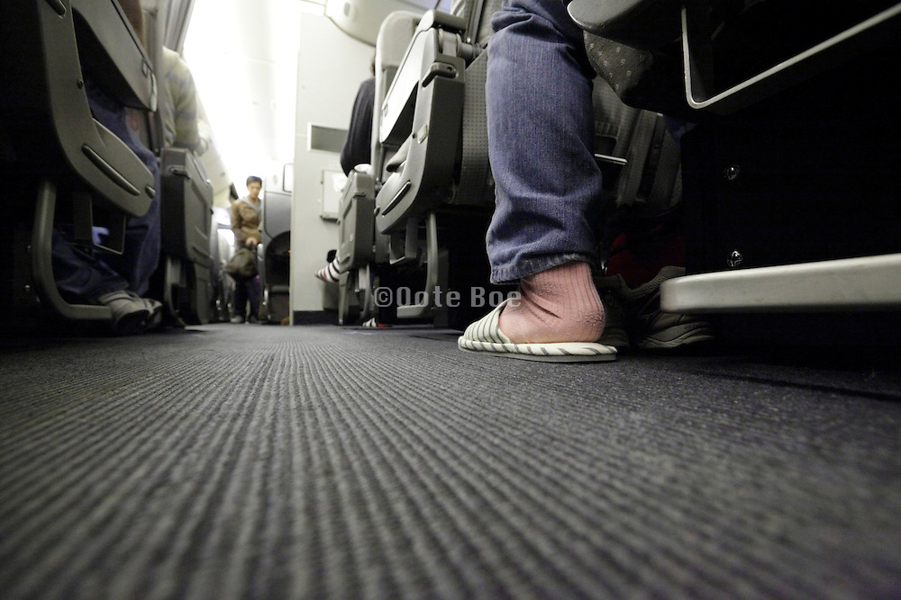 wearing comfort slippers during flight