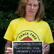 Gina Dowding, Greenparty councillor. 13 anti-fracking activists, climate protectors, the day before doing a joint lock-on outside Quadrilla's drill site in New Preston Road, Lancashire. The campaign against the drilling for shale gas has been going for years and since January 2017 many have taken to block the gates to deny Quadrilla being able to drill. Fracking was rejected by Lancashire County council in 2015 but were overruled by central Conservative government and locals are fighting to stop the drilling and reverse the decision.
