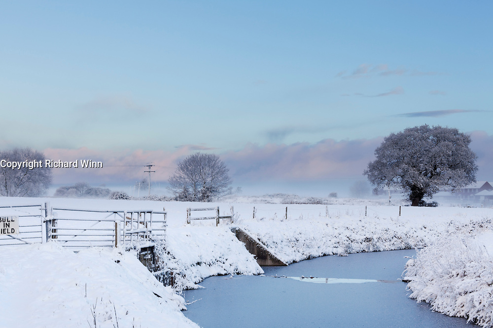 View north from Wembdon, looking north across the Somerset Levels after heavy overnight snow.