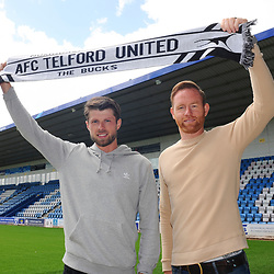 TELFORD COPYRIGHT MIKE SHERIDAN AFC Telford manager Gavin Cowan with new signing Jason Oswell at the New Bucks Head Stadium on Friday, June 6, 2020.<br /> <br /> Picture credit: Mike Sheridan/Ultrapress<br /> <br /> MS202021-001