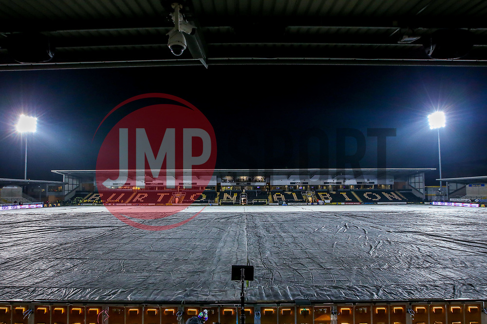 A general view of The Pirelli Stadium, covered by protective sheets ahead of the Carabao Cup Semi-Final Second Leg between Burton Albion and Manchester City - Mandatory by-line: Robbie Stephenson/JMP - 23/01/2019 - FOOTBALL - Pirelli Stadium - Burton upon Trent, England - Burton Albion v Manchester City - Carabao Cup
