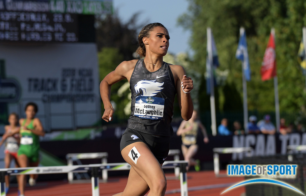 Jun 7, 2018; Eugene, OR, USA; Sydney McLaughlin of Kentucky wins women's 400m hurdles heat in 54.14 for the fastest semifinal time in meet history during the NCAA Track and Field championships at Hayward Field.