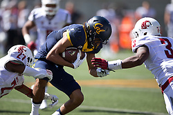 BERKELEY, CA - OCTOBER 03:  Wide receiver Kenny Lawler #4 of the California Golden Bears is tackled by cornerback Marcellus Pippins #27 of the Washington State Cougars and linebacker Ivan McLennan #3 during the first quarter at California Memorial Stadium on October 3, 2015 in Berkeley, California. (Photo by Jason O. Watson/Getty Images) *** Local Caption *** Kenny Lawler; Marcellus Pippins; Ivan McLennan