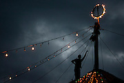 Islamabad: A rope handler stand at the top of the Jan Baz Circus tent in preparation for an evenings entertainment at Pothohari Village in Islamabad...©jtanner 2010