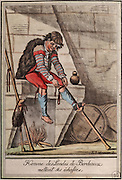 Man from the Landes Bordeaux region putting on his stilts, by Jacques Grasset de Saint Sauveur, 1757-1810, from the 'Gens du Petit Peuple', late 18th century, in the Musee d'Aquitaine, Cours Pasteur, Bordeaux, Aquitaine, France. The Landes region was marshy and boggy, and peasants in the area often used stilts to walk from place to place. Picture by Manuel Cohen