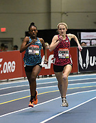 Feb 10, 2018; Boston, Massachussetts, USA; Kelsey Chmiel (right) defeats Gabrielle Wilkerson to win the junior girls mile, 4:44.84 to 4:46.95, during the New Balance Indoor Grand Prix at Reggie Lewis Center.