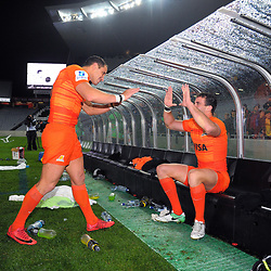 Jaguares captain Joaquin Tuculet celebrates victory with tryscorer Emiliano Boffelli after the Super Rugby match between the Blues and Jaguares at Eden Park in Auckland, New Zealand on Friday, 28 April 2018. Photo: Dave Lintott / lintottphoto.co.nz