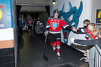 KELOWNA, CANADA - MARCH 18: Lucas Johansen #7 of Kelowna Rockets exits the ice after warm up against the Seattle Thunderbirds on March 18, 2015 at Prospera Place in Kelowna, British Columbia, Canada.  (Photo by Marissa Baecker/Shoot the Breeze)  *** Local Caption *** Lucas Johansen;