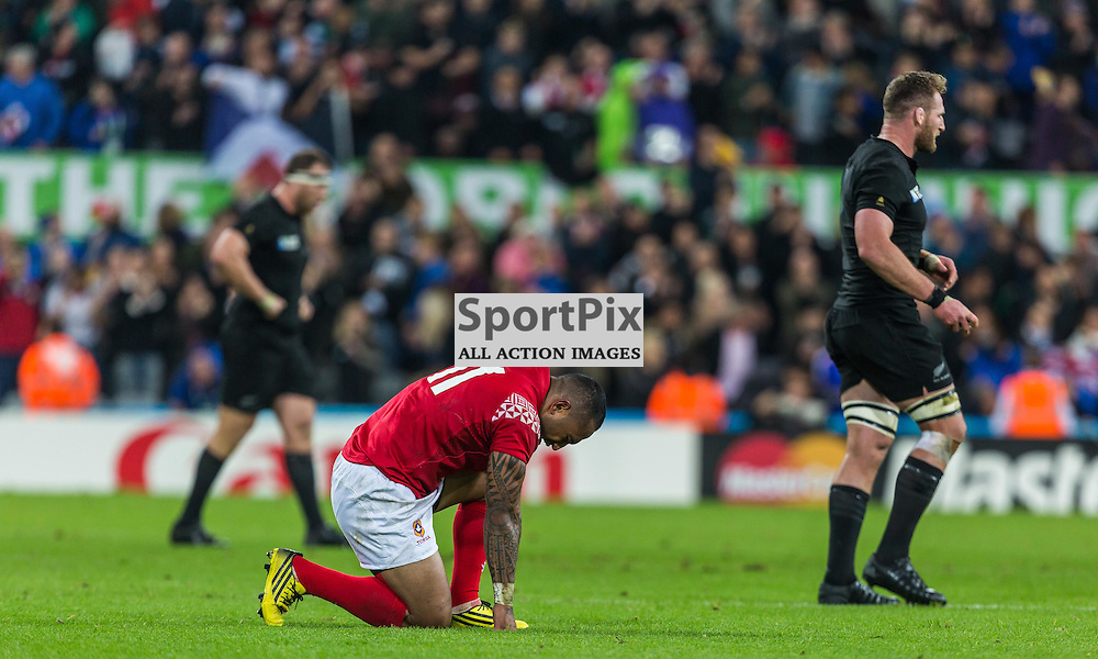 Fet'u Vainikolo prays after the Rugby World Cup match between New Zealand and Tonga (c) ROSS EAGLESHAM | Sportpix.co.uk