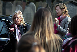 © Licensed to London News Pictures . 30/10/2018. Accrington , UK . Gemma's mother HELEN SPROATES and the actress KATE WINSLET arrive at the funeral in the cortege . The funeral of Gemma Nuttall at Accrington Crematorium . Gemma died of cancer despite initially seeing off the disease after radical immunotherapy treatment in Germany , paid for with the fundraising support of actress Kate Winslet , who read of Gemma's plight on a crowdfunding website shortly after she lost her own mother to cancer . Permission to photograph given by Gemma's mother , Helen Sproates . Photo credit : Joel Goodman/LNP