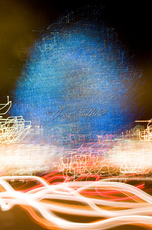 Blue holiday tree lights, abstract time exposure photograph
