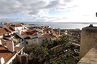 01 JAN 2006, LISBON/PORTUGAL:<br /> Blick auf die Daecher von Alfama, einem historischen Stadtteil der Stadt Lissabon<br /> View on the rooftops of Alfama, a historical district of the city of Lisbon<br /> IMAGE: 20060101-01-008<br /> KEYWORDS: Lisboa, roof, Dach, D&auml;cher, Reise, travel, Stadtansicht, Europa, europe, cityscape