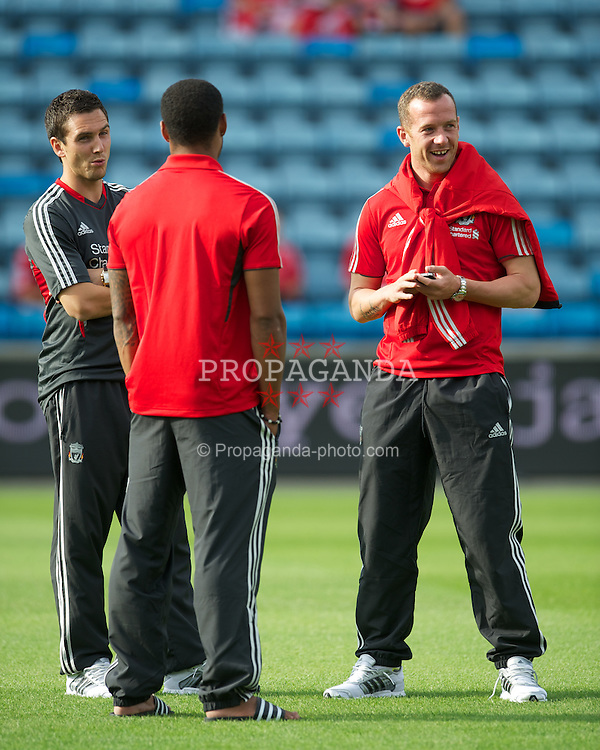 OSLO, NORWAY - Monday, August 1, 2011: Liverpool's Stewart Downing and Charlie Adam before the preseason friendly match against Valerenga at the Ulleval Stadion. (Photo by David Rawcliffe/Propaganda)