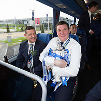 St Johnstone v Dundee United....17.05.14   William Hill Scottish Cup Final<br /> Manager Tommy Wright keeps a firm hold of the Scottish Cup as the team leaves Celtic Park, he is picture next to Chairman Steve Brown<br /> Picture by Graeme Hart.<br /> Copyright Perthshire Picture Agency<br /> Tel: 01738 623350  Mobile: 07990 594431