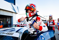 Dino Zamparelli celebrates after taking his first race win of the season | Bristol Sport Racing | #88 Porsche 911 GT3 Cup Car | Porsche Carrera Cup GB | Race 1 - Mandatory byline: Rogan Thomson/JMP - 07966 386802 - 27/09/2015 - MOTORSPORT - Silverstone Circuit - Towcester, England - BTCC Meeting Day 2.