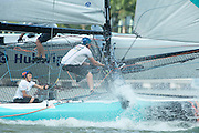 GAC Pindar. Day two of the Extreme Sailing Series regatta being sailed in Singapore. 21/2/2014