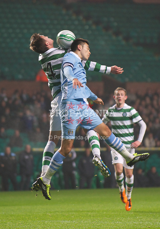 GLASGOW, SCOTLAND - Monday, November 7, 2011: Glasgow Celtic's Jackson Irvine in action against Manchester City's Sean Tse during the NextGen Series Group 1 match at Celtic Park. (Pic by David Rawcliffe/Propaganda)