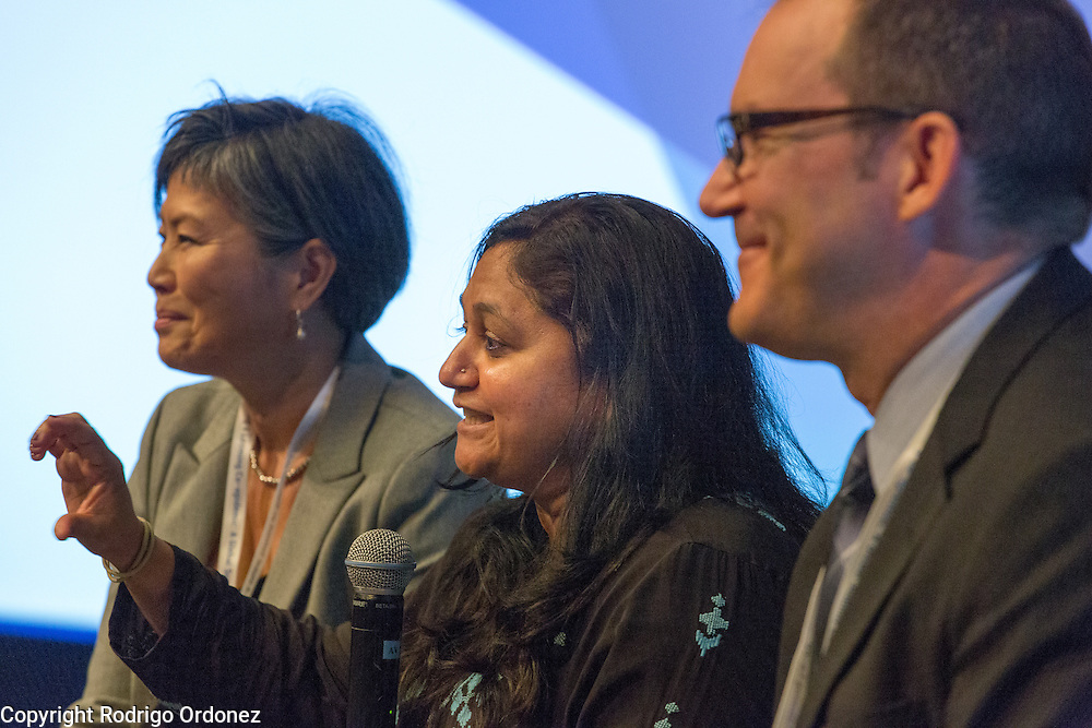 Renuka Gadde, Vice President of Global Health for Becton Dickinson (center), speaks about private sector initiatives to fight the co-epidemic at the global summit on diabetes and tuberculosis in Bali, Indonesia, on November 2, 2015.<br /> The increasing interaction of TB and diabetes is projected to become a major public health issue.&nbsp;The summit gathered a hundred public health officials, leading researchers, civil society representatives and business and technology leaders, who committed to take action to stop this double threat. (Photo: Rodrigo Ordonez for The Union)