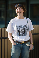 "© Licensed to London News Pictures. 02/09/2018. London, UK.  A woman with a ""Jeremy Corbyn is a racist endevour"" tee shirt arrives at the Jewish Labour Movement Conference 2018..  Photo credit: Vickie Flores/LNP"