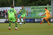 Forest Green Rovers Aarran Racine (21) paces the ball to Forest Green Rovers Matt Tubbs (20) during the Vanarama National League match between Forest Green Rovers and Sutton United at the New Lawn, Forest Green, United Kingdom on 9 August 2016. Photo by Shane Healey.