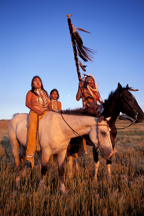 Model release, Native Americans,Crow tribe,  Leland Rock with  Mervel Yellow Tail (m) and  Leland jr., Crow Indian Reservation, Montana, USA