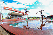 Conseslus KIPRUTO of Kenya (white jersey) clears the water jump and goes on to win the Men's 3000m Steeplechase during the Muller Grand Prix 2018 at Alexander Stadium, Birmingham, United Kingdom on 18 August 2018. Picture by Toyin Oshodi.