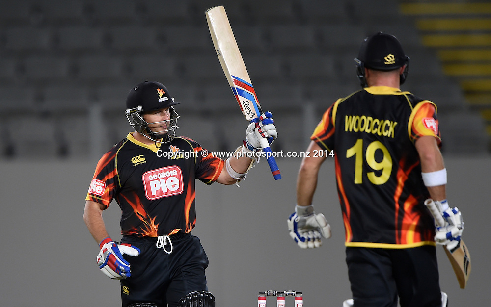 Wellington's international batsman Brad Hodge during the Georgie Pie Super Smash Twenty20 cricket match between the Auckland Aces and Wellington Firebirds at Eden Park, Auckland on Friday 14 November 2014. Photo: Andrew Cornaga / www.Photosport.co.nz