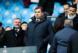 Ferran Soriano (centre) during the Premier League match at the Etihad Stadium, Manchester.