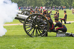 Hyde Park, London, June 2nd 2016. Soldiers and guns of the King's Troop Royal Horse Artillery fire a 41 round Royal Salute to mark the 63rd anniversary of the coronation of Britain's Monarch HM Queen Elizabeth II.