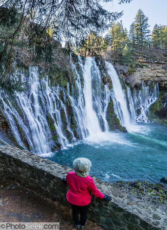 Burney Falls is a beautiful National Natural Landmark on Burney Creek in McArthur-Burney Falls Memorial State Park, Shasta County, California, USA. The water comes from underground springs above and at the falls, which plunges 129 feet. The waterfall was named after pioneer settler Samuel Burney who lived nearby in the 1850s. The McArthurs settled nearby in the late 1800s and their descendants saved the waterfall from development, bought the property and gifted it to the state in the 1920s. The park is northeast of Redding, six miles north of Highway 299 on Highway 89 near Burney. The Pacific Crest Trail passes through the park. This panorama was stitched from 6 overlapping photos.