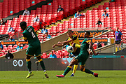 Notts County defender Richard Brindley (20) blocks a shot  during the Vanarama National League Promotion Final match between Harrogate Town and Notts County at Wembley Stadium, London, England on 2 August 2020.