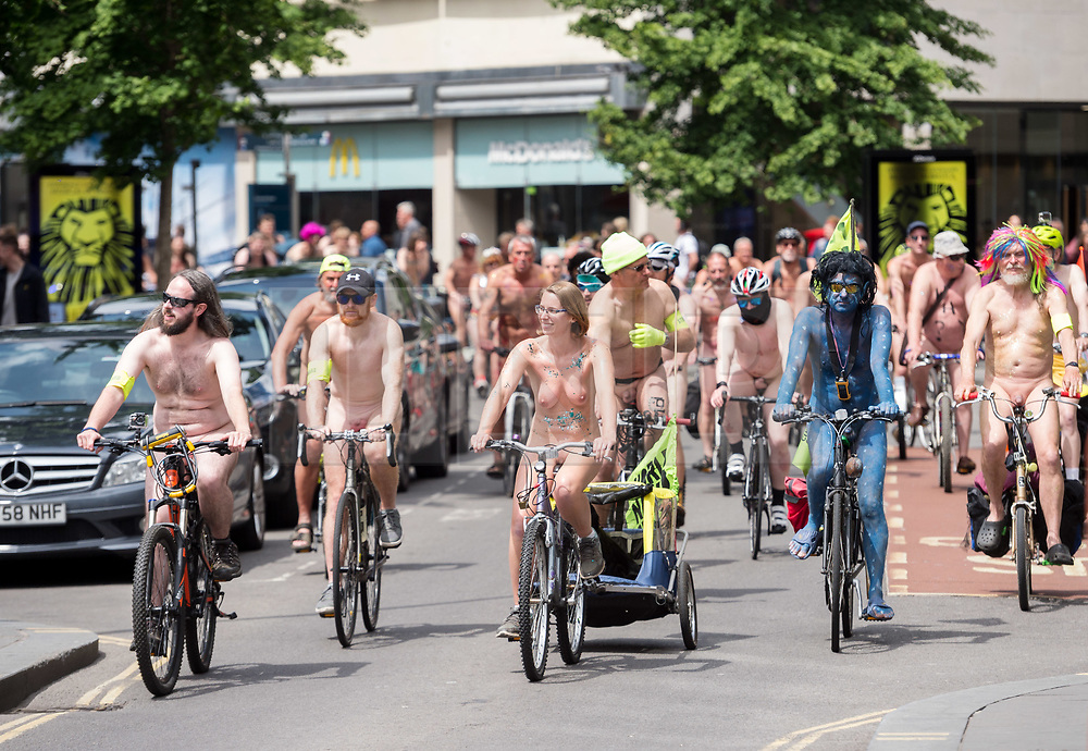 © Licensed to London News Pictures. 09/06/2019. Bristol, UK. NOTE: CONTAINS NUDITY. Bristol World Naked Bike Ride, part of a series of naked bike rides in cities around the UK to highlight the vulnerability of cyclists and protest against the use of fossil fuels for transport while encouraging cycling. Photo credit: Simon Chapman/LNP.