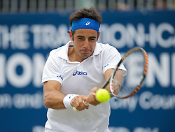 LIVERPOOL, ENGLAND - Saturday, June 18, 2011: Federico Gil (POR) in action during the Men's Final on day three of the Liverpool International Tennis Tournament at Calderstones Park. (Pic by David Rawcliffe/Propaganda)