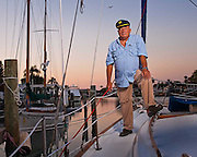 Captain Warwick Cahill, pilot captain and sailor, photographed in Tampa, Florida.