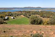 Landscape view northwards towards hills and Monsaraz from Mourão , Alentejo Central, Evora district, Portugal, southern Europe