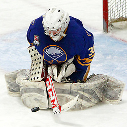 AURORA, ON - Feb 21 : Ontario Junior Hockey League Game Action between the Buffalo Jr. Sabres and the Aurora Tigers, Brandon Mueller #30 of the Buffalo Junior Sabres Hockey Club .<br /> (Photo by Brian Watts / OJHL Images)