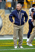 St. Louis Rams head coach Steve Spagnuolo watches pregame warmups at the NFL week 16 football game against the Pittsburgh Steelers on Saturday, December 24, 2011 in Pittsburgh, Pennsylvania. The Steelers won the game in a 27-0 shutout. ©Paul Anthony Spinelli