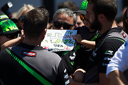 July 7, 2018 - Misano, RN, Italy - The children of Jonathan Rea show a sign for their dad to celebrate the victory of race 1 of the Motul FIM Superbike Championship, Riviera di Rimini Round, at Misano World Circuit ''Marco Simoncelli'', on July 07, 2018 in Misano, Italy  (Credit Image: © Danilo Di Giovanni/NurPhoto via ZUMA Press)