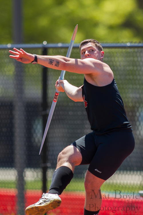Rutgers Newark's Calvin Novak competes in the men's javelin  at the NJAC Track and Field Championships at Richard Wacker Stadium on the campus of  Rowan University  in Glassboro, NJ on Sunday May 5, 2013. (photo / Mat Boyle)