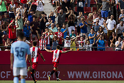August 15, 2017 - Girona, Spain - 09 Portu from Spain of Girona FC celebrating the first goal of the match during the Costa Brava Trophy match between Girona FC and Manchester City at Estadi de Montilivi on August 15, 2017 in Girona, Spain. (Credit Image: © Xavier Bonilla/NurPhoto via ZUMA Press)