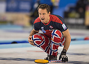 """Glasgow. SCOTLAND. Norway's Thomas ULSRUD calling instructions to the sweepers during his delivery of the """"Stone"""" """"Semi Final"""" Norway vs Switzerland Game. Le Gruyère European Curling Championships. 2016 Venue, Braehead  Scotland<br /> Thursday  24/11/2016<br /> <br /> [Mandatory Credit; Peter Spurrier/Intersport-images]"""
