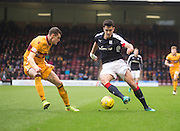 Dundee's Julen Etxabeguren takes on Motherwell's Jack McMillan - Motherwell v Dundee in the Ladbrokes Scottish Premiership at Fir Park, Motherwell.Photo: David Young<br /> <br />  - © David Young - www.davidyoungphoto.co.uk - email: davidyoungphoto@gmail.com