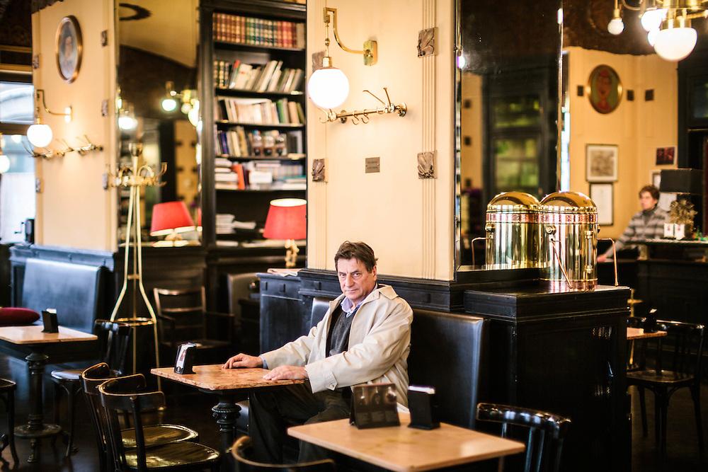 31 MAR 2009 - Trieste - Claudio Magris, scrittore e germanista, al Caffè San Marco - Italian writer Claudio Magris at Caffè San Marco.