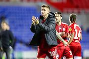 Fulham midfielder Tom Cairney (10) thanks fans at full time during the EFL Sky Bet Championship match between Reading and Fulham at the Madejski Stadium, Reading, England on 1 October 2019.