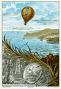 First balloon crossing of English Channel, 7 January 1785 by Jean-Pierre Blanchard, French inventor, and American Dr John Jeffries from Dover to Guines, 2 hours 30 mins. Chromolithograph c1883.   Aeronautics Aviation Ballooning