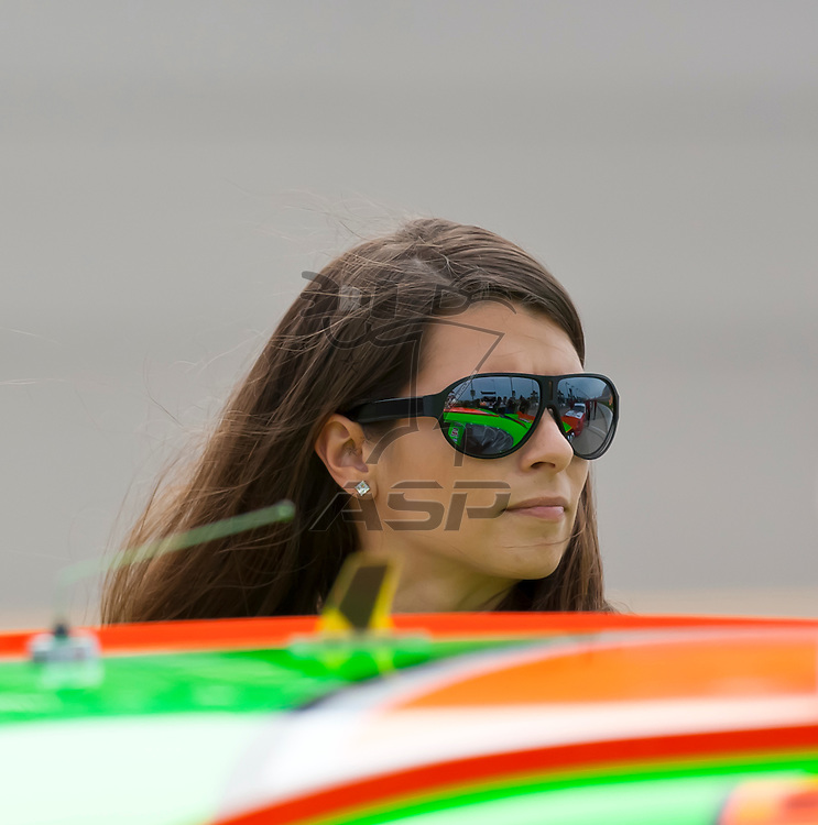 NEWTON, IA - AUG 04, 2012:  Danica Patrick (7) and crew prepare to qualify for the U.S. Cellular 250 at the Iowa Speedway in Newton, IA.