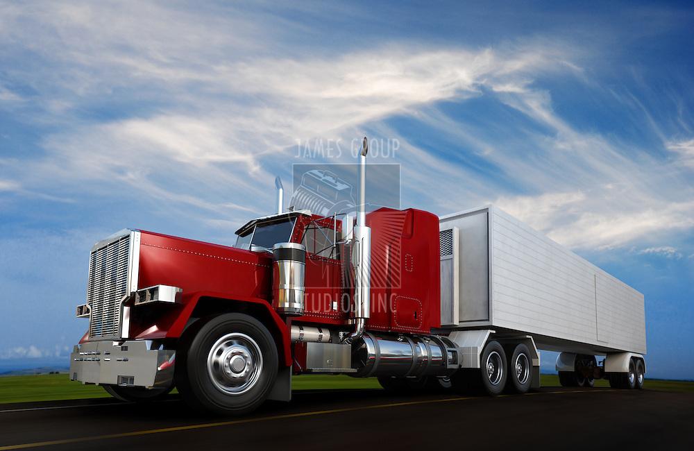 An 18 wheeler Semi-Truck sppeding on highway