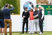 Pep Guardiola Tommy Fleetwood Matt Le Tisser and Peter Schmeichel pose for a picture on the 1st hole during the Celebrity Pro-Am day at Wentworth Club, Virginia Water, United Kingdom on 23 May 2018. Picture by Phil Duncan.